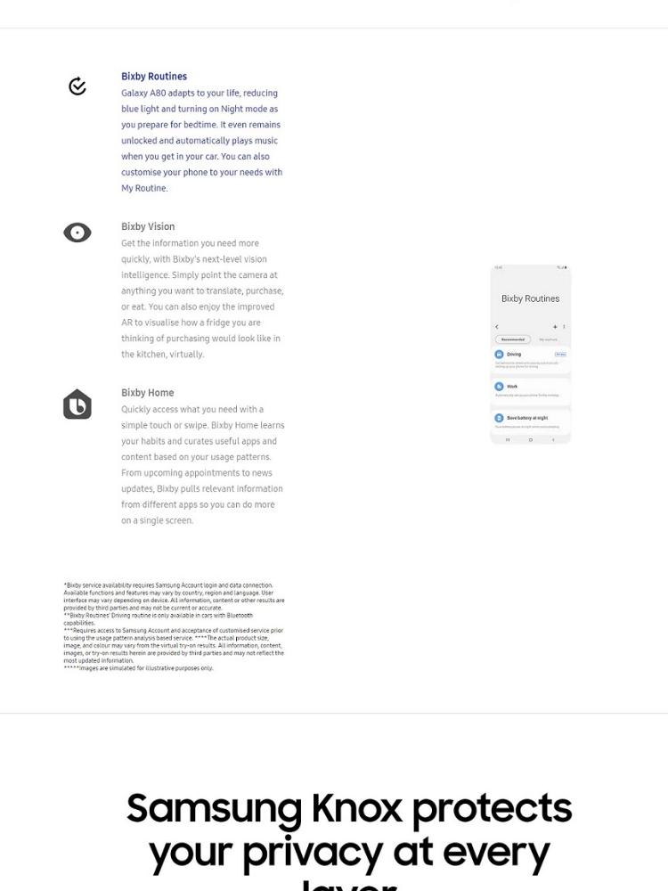 Samsung Galaxy A80 1 year warranty by Samsung