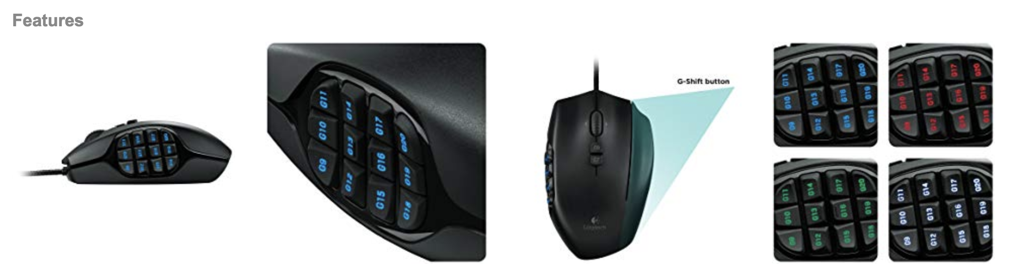 509cc7bb7b1 Specifications of Logitech G600 MMO Gaming Mouse, RGB Backlit, 20  Programmable Buttons. Brand