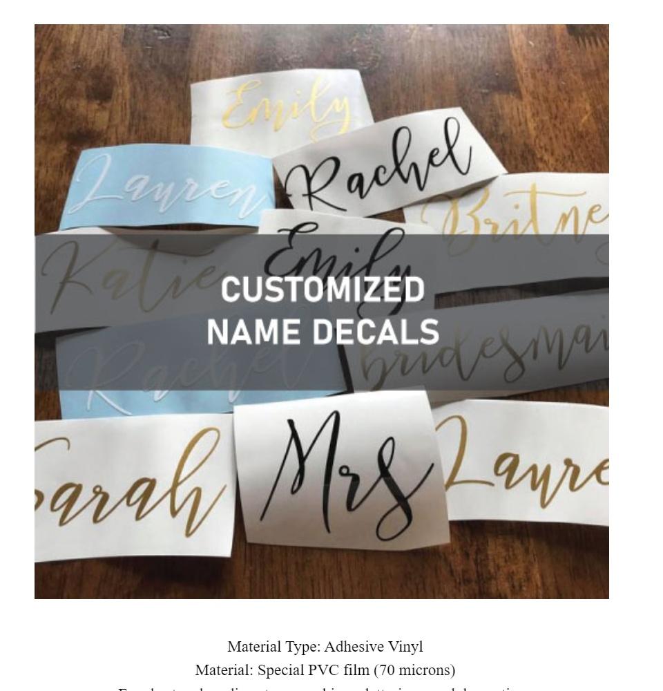 Customized Name Decal Oracal 651 Vinyl