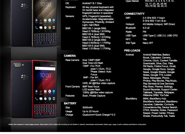 Blackberry KEY2 LE 4GB/64GB Dual Sim**Export Set**
