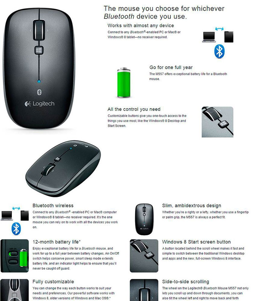 Logitech M557 Bluetooth Mouse for Windows and Mac Dark Grey 910-003960  3-Years Local Warranty