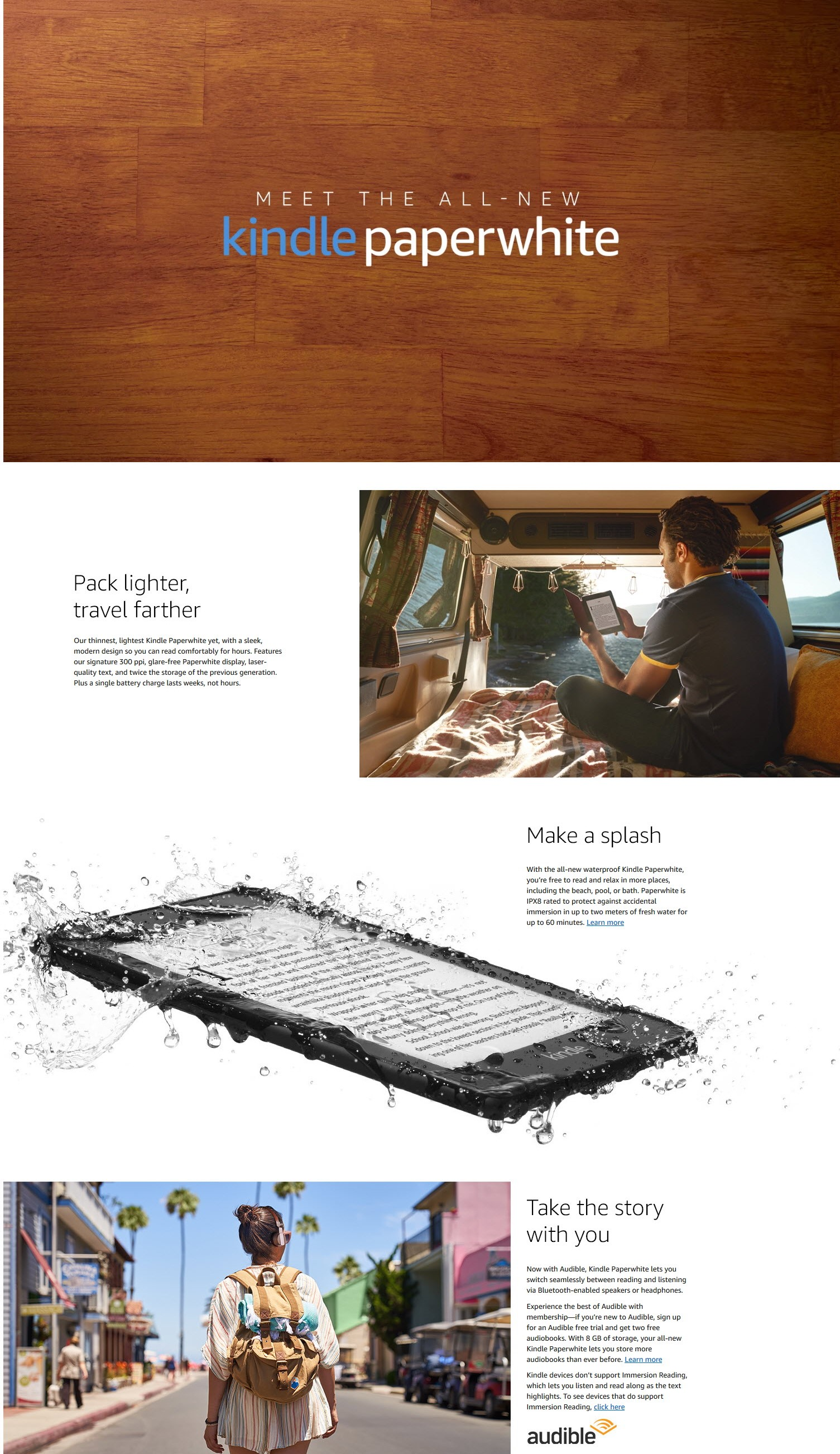 Amazon 2019 Kindle Paperwhite Waterproof 8/32GB + Screen Protector + Kindle  SG Setup Guide + Amazon Kindle Warranty