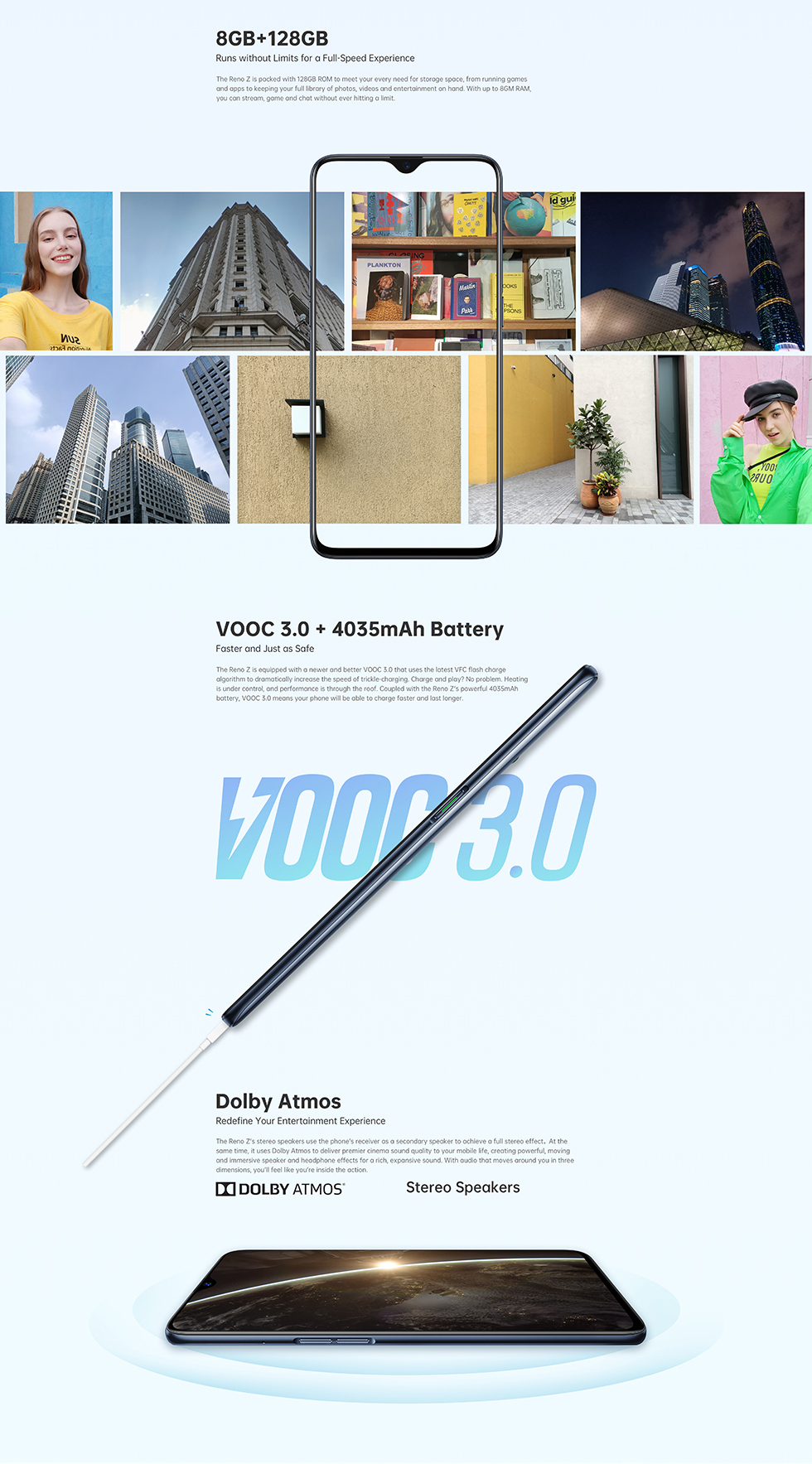 OPPO Reno Z - 48MP + 32MP Camera 4035mAh + VOOC 3 0 8GB + 128GB