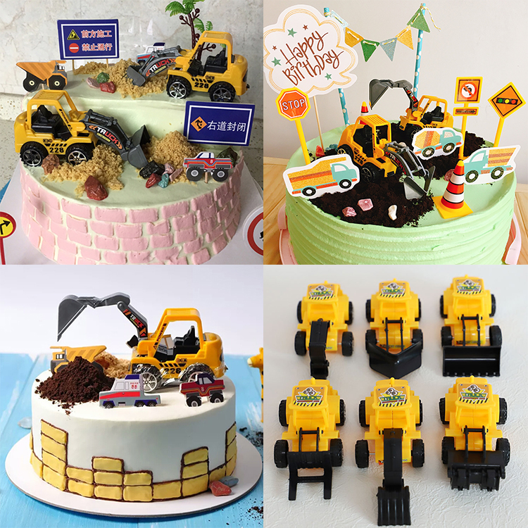 Bulldozer excavator cake toppers toy figurine transport model car birthday  topper