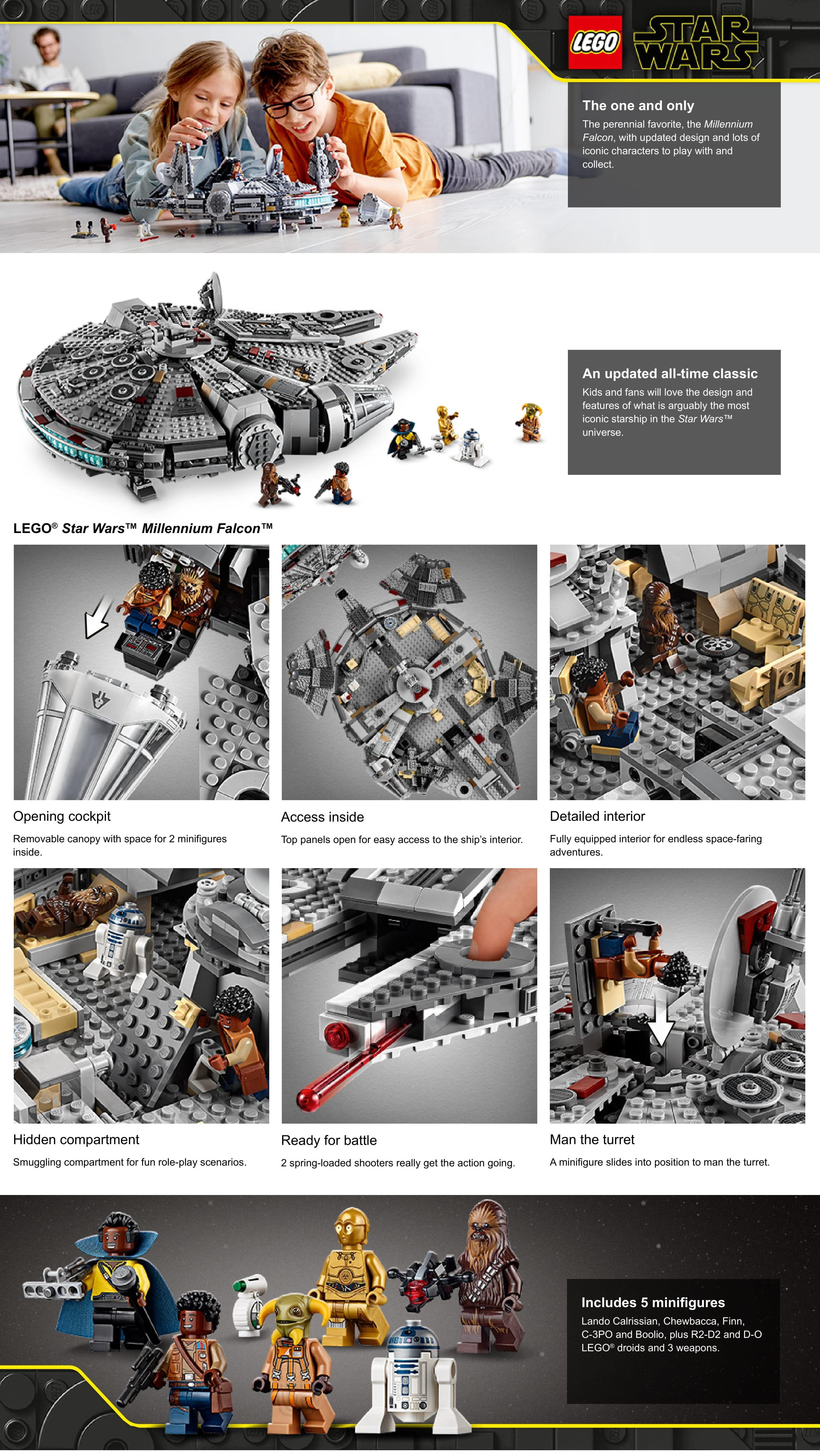 Lego Star Wars The Rise Of Skywalker Millennium Falcon 75257 Starship Model Building Kit And Minifigures 1 351 Pieces Lazada Singapore