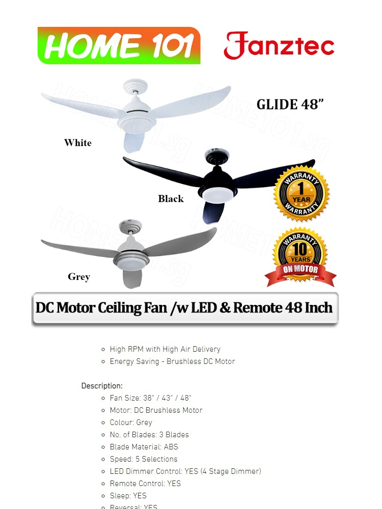 Fanztec DC Motor Ceiling Fan /w LED and Remote 48 Inch GLIDE