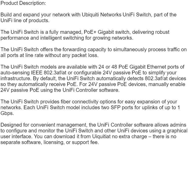 US-24-250W Ubiquiti Unifi Switch 24 Port 250W PoE+ SFP UBNT Singapore