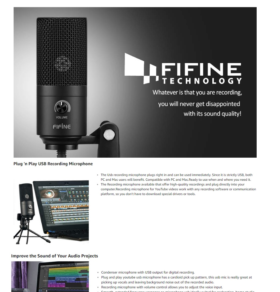 Fifine Metal Condenser Recording USB Microphone For Laptop MAC Or Windows  Cardioid Studio Recording Vocals, Voice Overs,Streaming Broadcast And