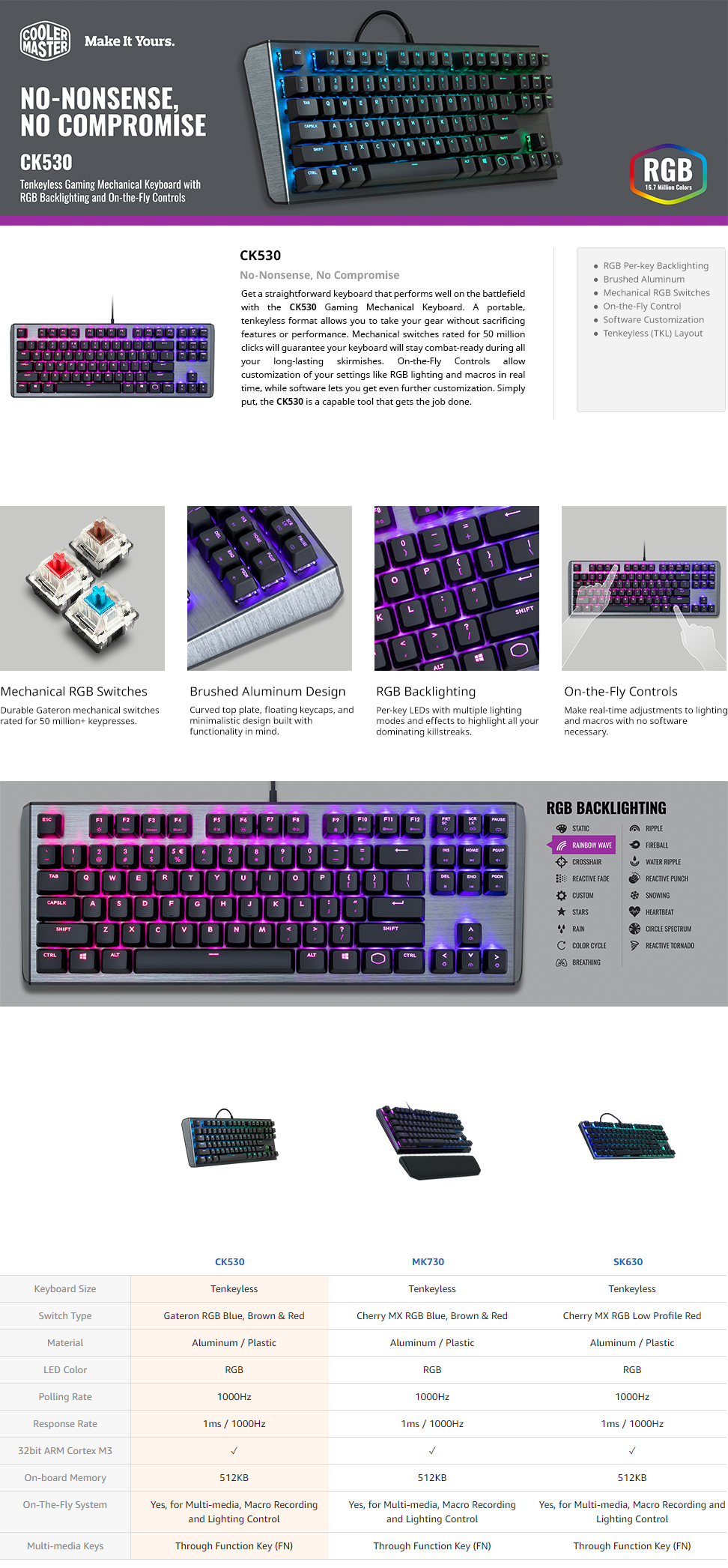 Cooler Master CK530 Gateron RGB Mechanical Gaming Keyboard with Software  Customization (TKL Layout / 87 Keys)