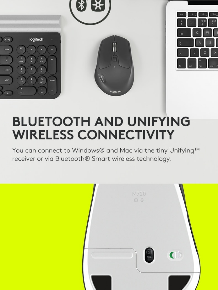 Logitech M720 Multi Device Bluetooth and Wireless Mouse with Logitech Flow,  Gesture Control and Wireless File Transfer