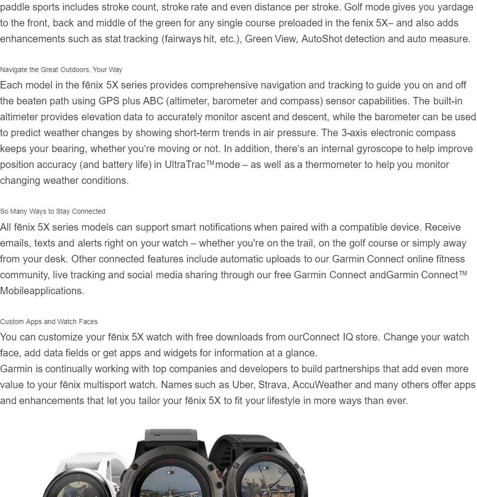 Garmin fenix 5X Sapphire Edition Multi-Sport Training GPS Watch (Slate  Gray, Black Band)