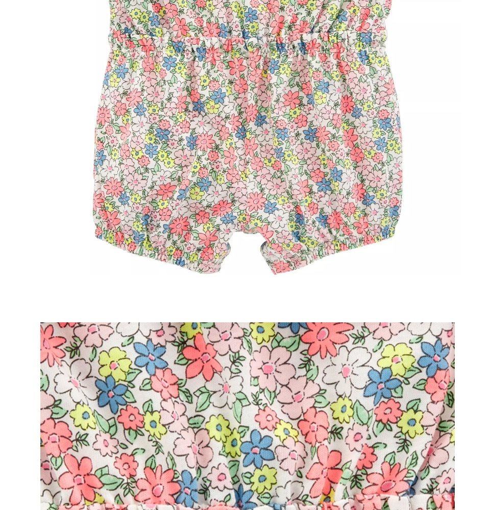 CAGL206 Carter's Baby Girls Floral Ruffle Tank Romper