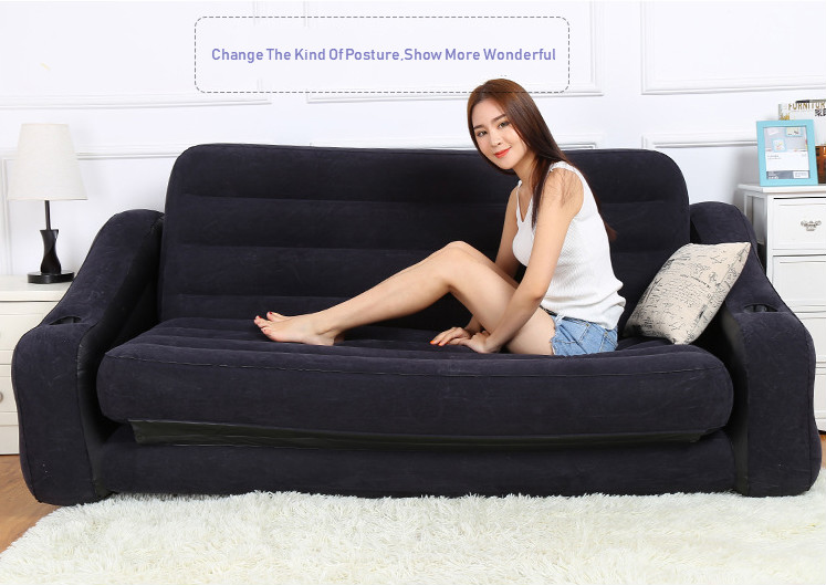 Intex 68566 Flock Inflatable Double Folding Sofa Bed Couple 5 In