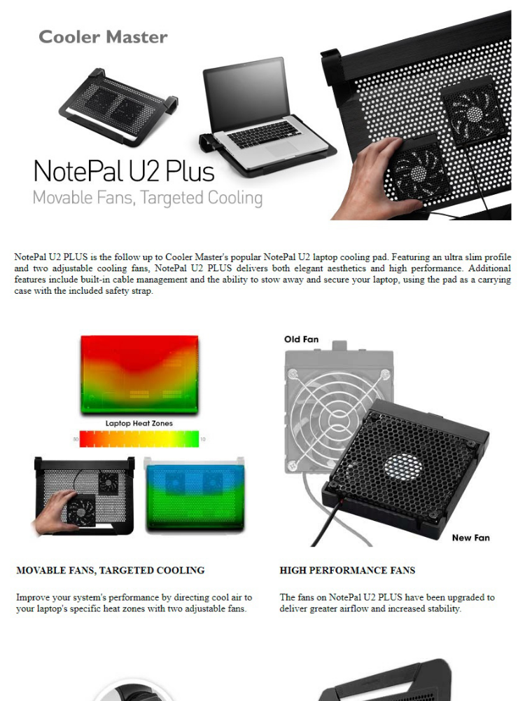 Cooler Master Notepal U2 Plus Aluminum Slim Professional Notebook Cooler  (Silver)