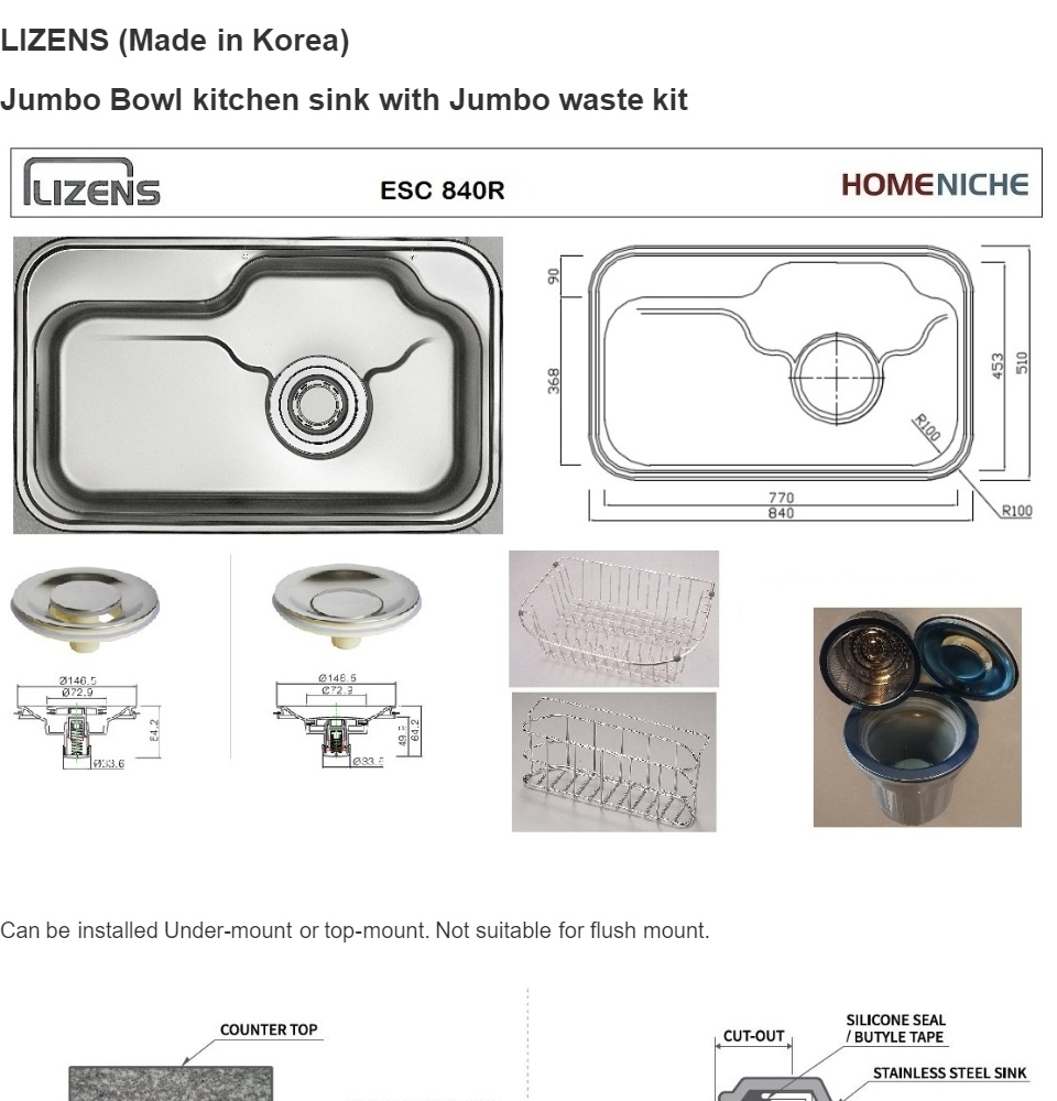 Lizens made in korea esc840 stainless steel kitchen sink with jumbo waste kit waste drainer basket and pop up stopper lazada singapore