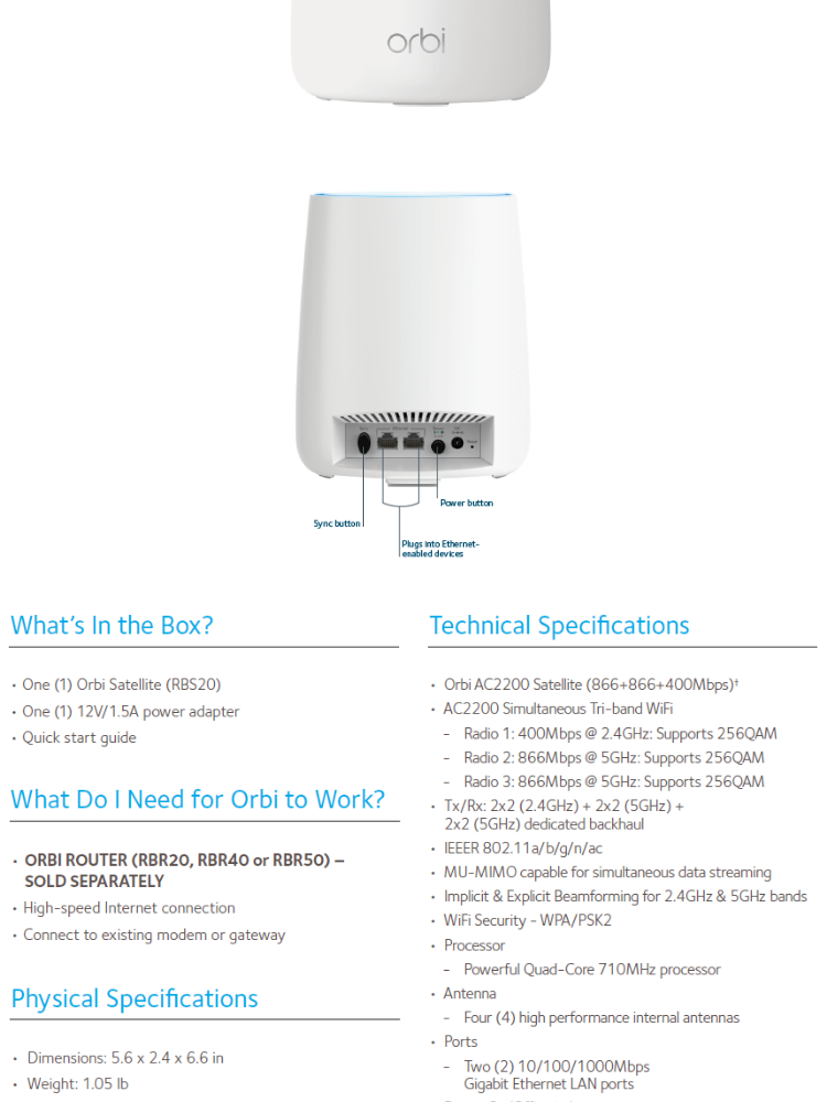 Netgear Orbi AC2200Tri-Band Add-On Satellite (Satellite Only) - RBS20