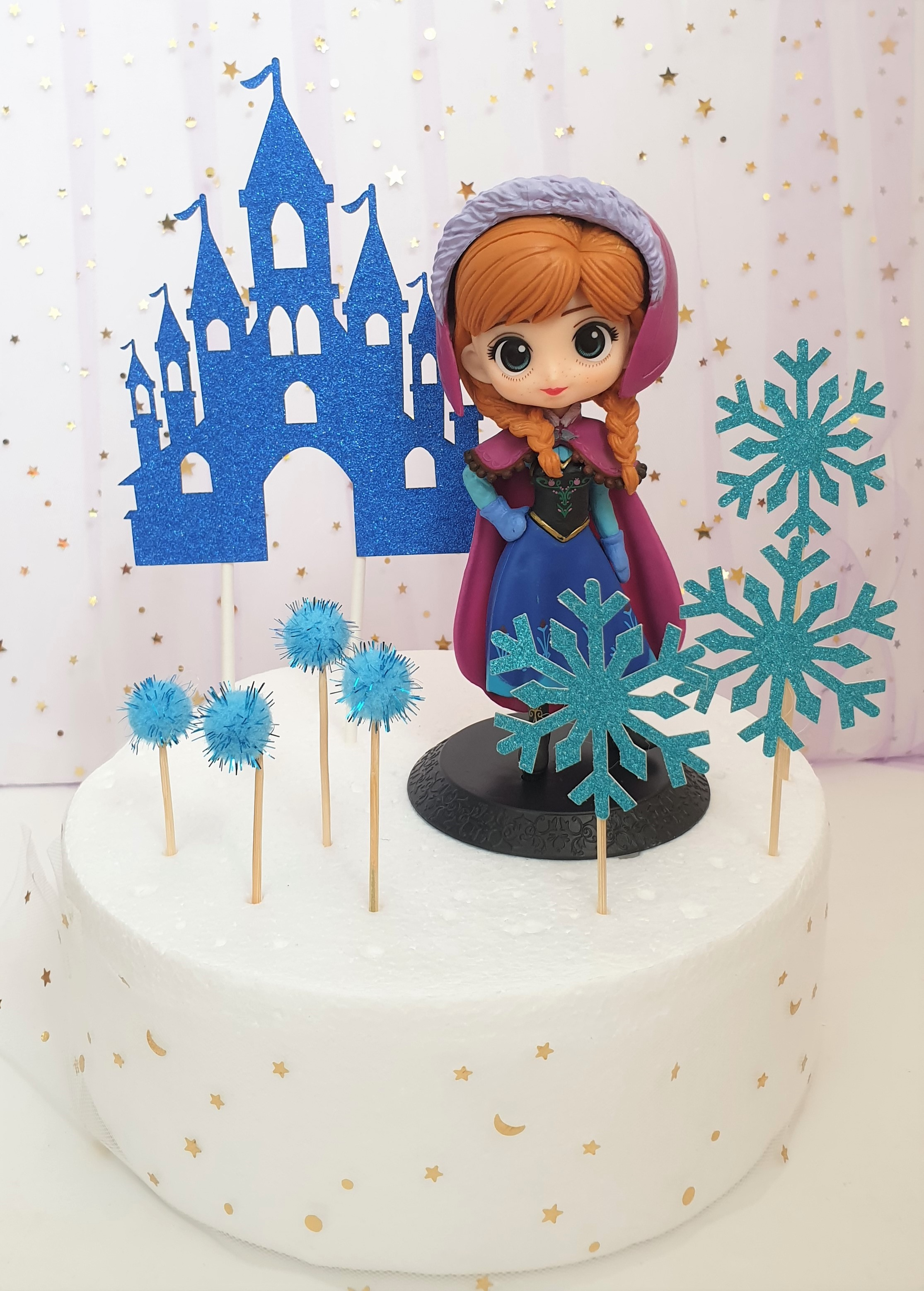 Enjoyable Princess Cake Princess Anna Figurine With Snowflakes And Castle Funny Birthday Cards Online Inifofree Goldxyz