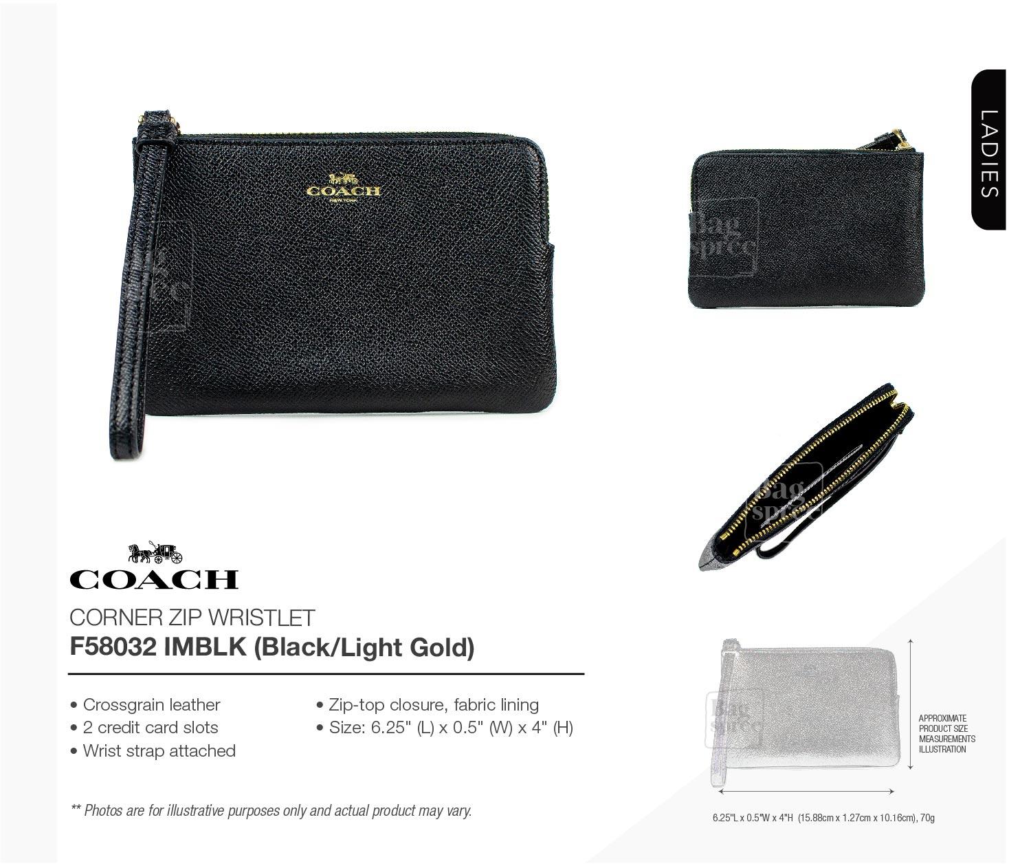 NWT COACH Corner Zip Wristlet Leather Wallet Small Black Gold Phone F58032 IMBLK