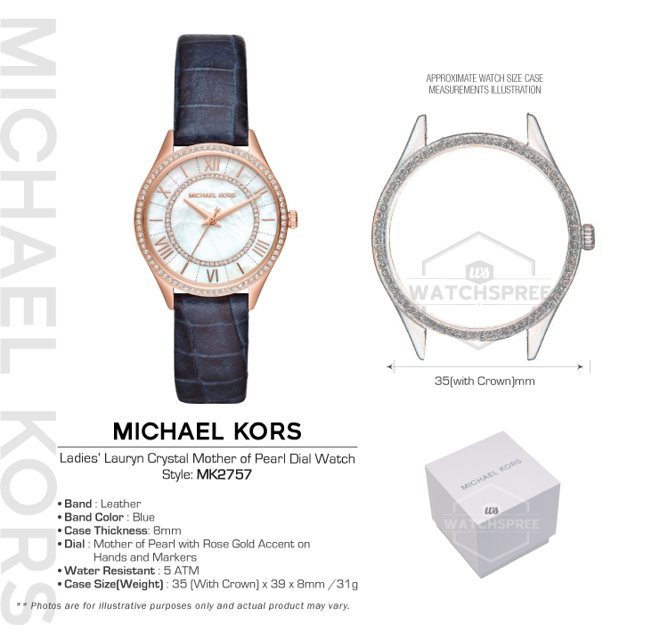 d8ab8caf79b3 Michael Kors Ladies  Lauryn Crystal Mother of Pearl Dial Watch ...