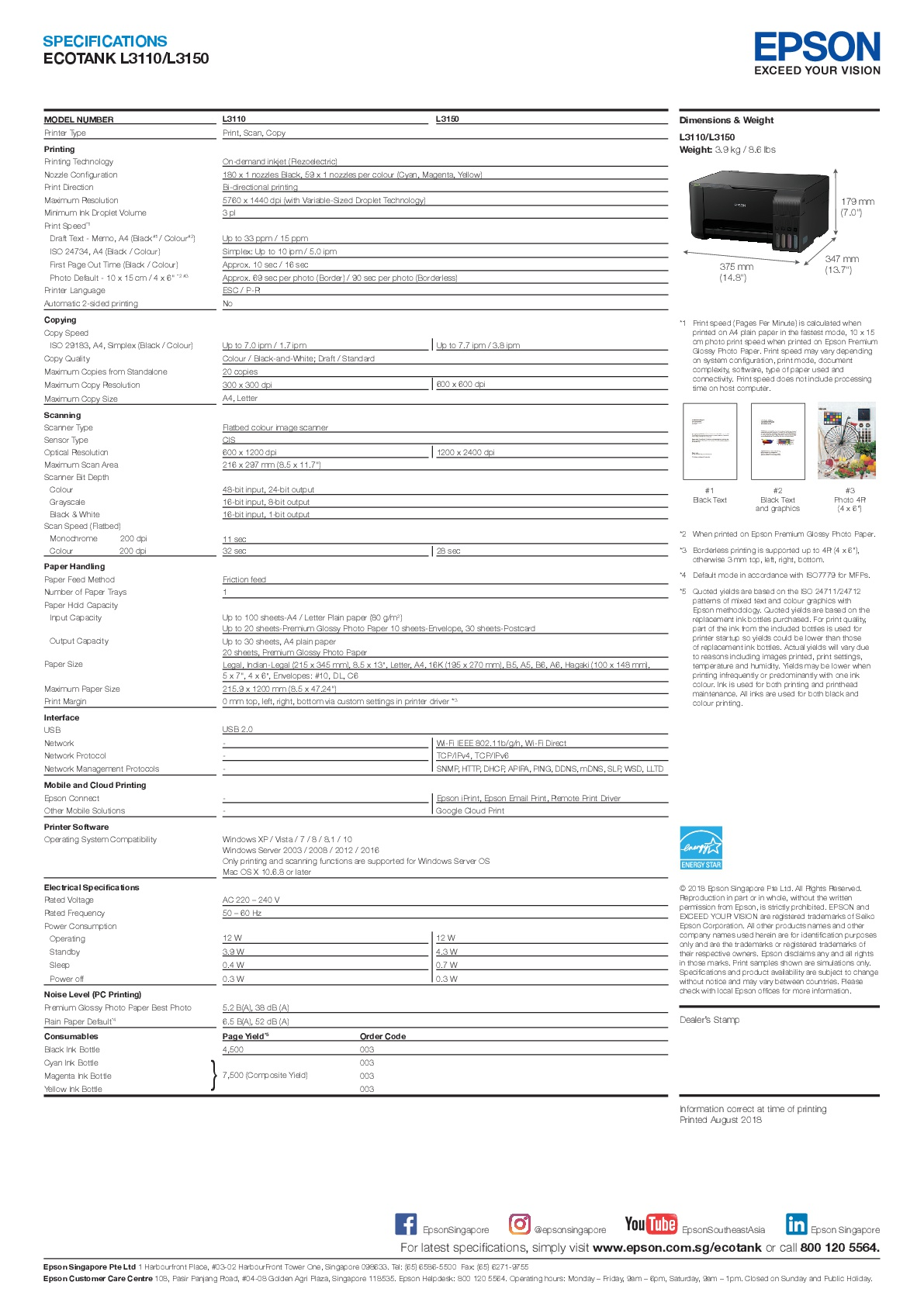 [Local Warranty] Epson EcoTank L3150 All-in-One Ink Tank Printer
