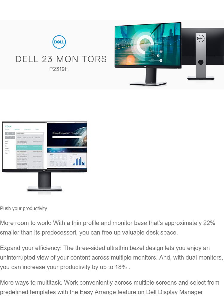 Dell Professional P2319H 23 Screen FULL HD LED-Lit Monitor (3 years  warranty)