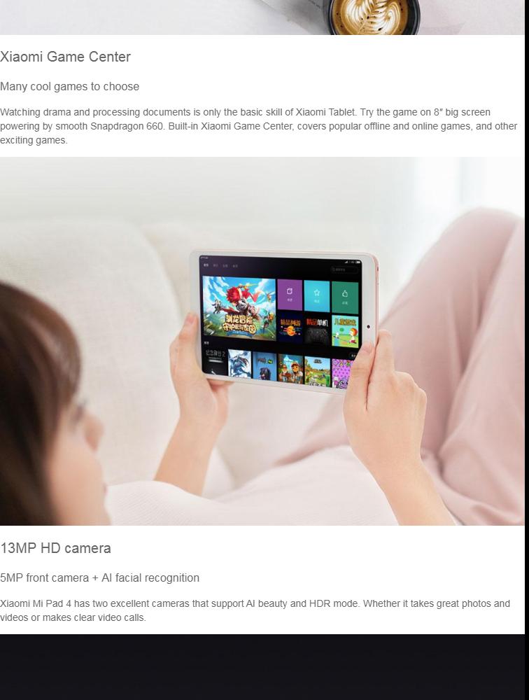 Xiaomi Tablet Mi Pad 4 4GB+64GB 8 Inch 13MP+5MP MIUI 10 6000mAh LTE Version  With Free Bluetooth Keyboard Cover