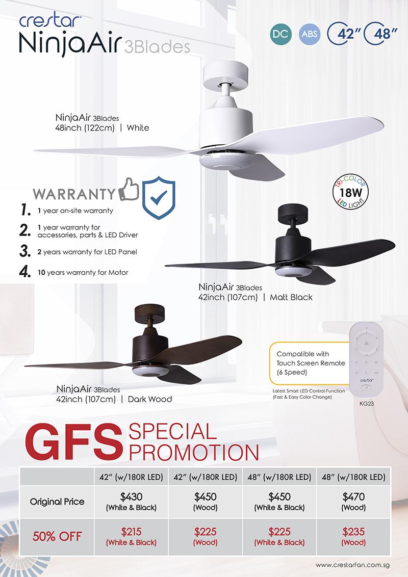 Crestar Ninja Air Ceiling Fan 3 Blades 42 Inch & 48 Inch - White/Matt  Black/Dark Wood