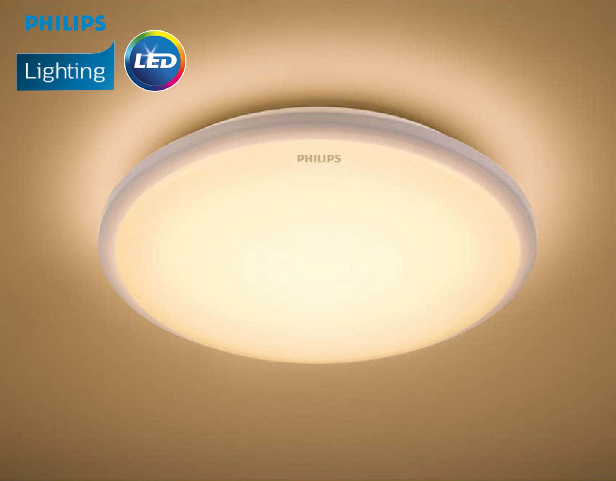 innovative design 0773d 4953b Philips 33369 65K/27K Cool Daylight/Warm White (10W/650lm) Moire Round LED  Essential Ceiling Light