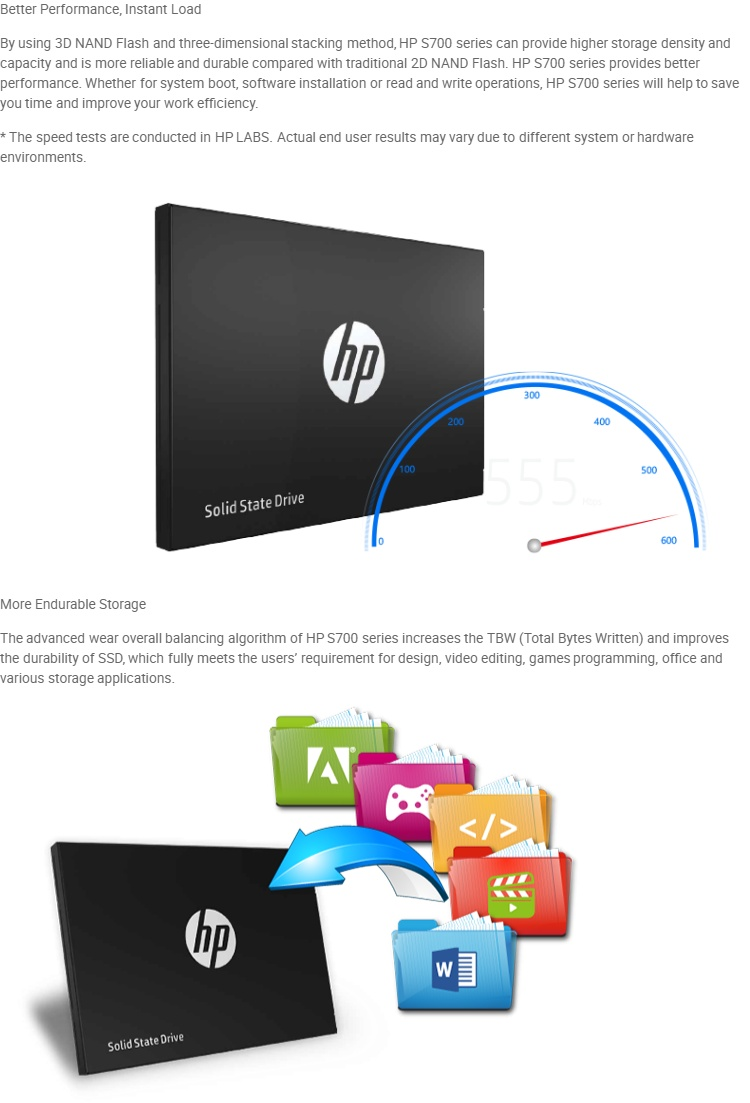 HP SSD S700 2 5Inch 500GB SATA III 3D NAND Internal Solid State Drive (SSD)  2DP99AA#UUF