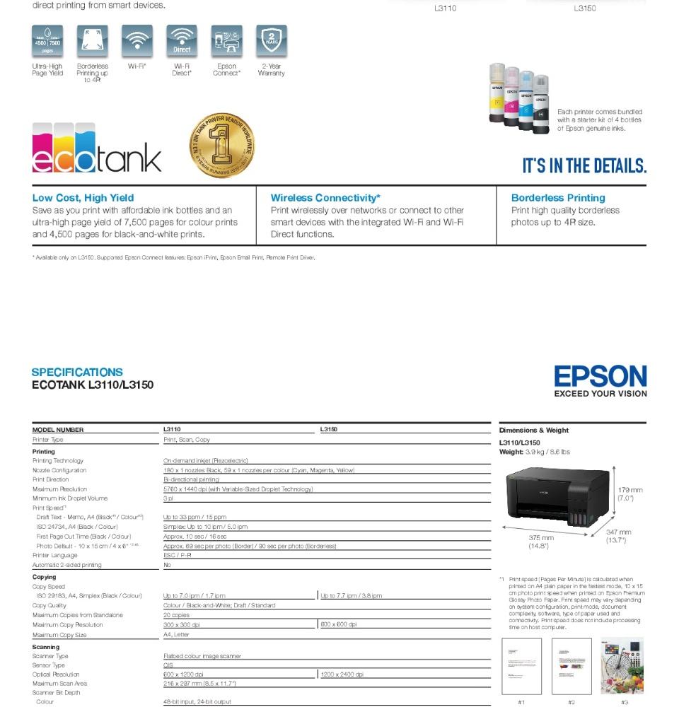 [Local Warranty] Epson EcoTank L3150 All-in-One Ink Tank Printer