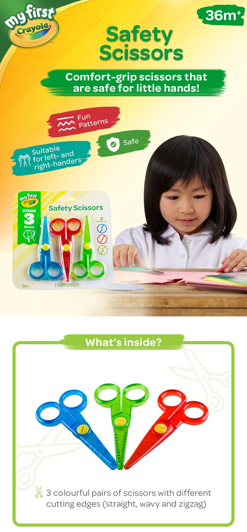 Safety Scissors straight /& zig zag cut Multi Color Scissors Children/'s age 3+