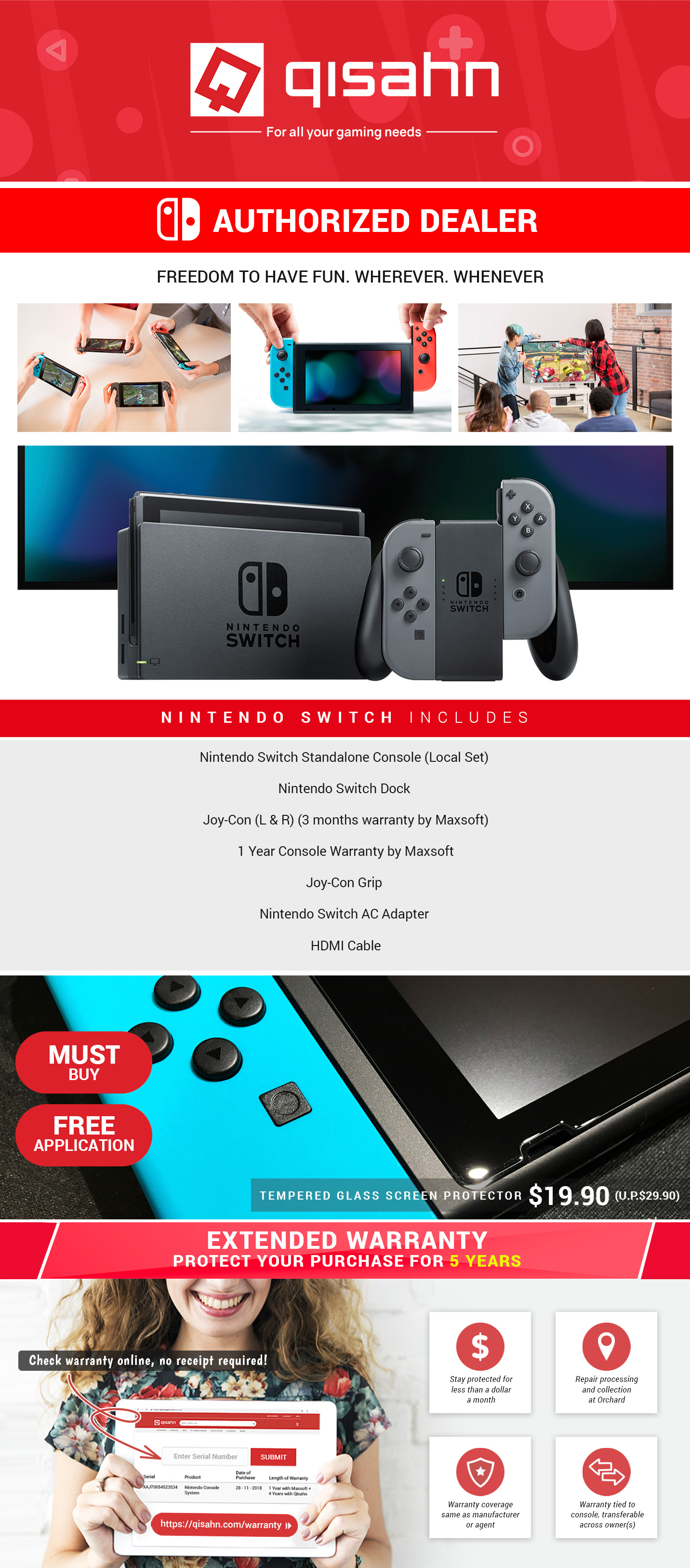 Nintendo Switch Console System 1 Year Local Warranty or Extended 5 Year  Warranty Grey or Neon Colour (Gen 1) (Local Asia Set)
