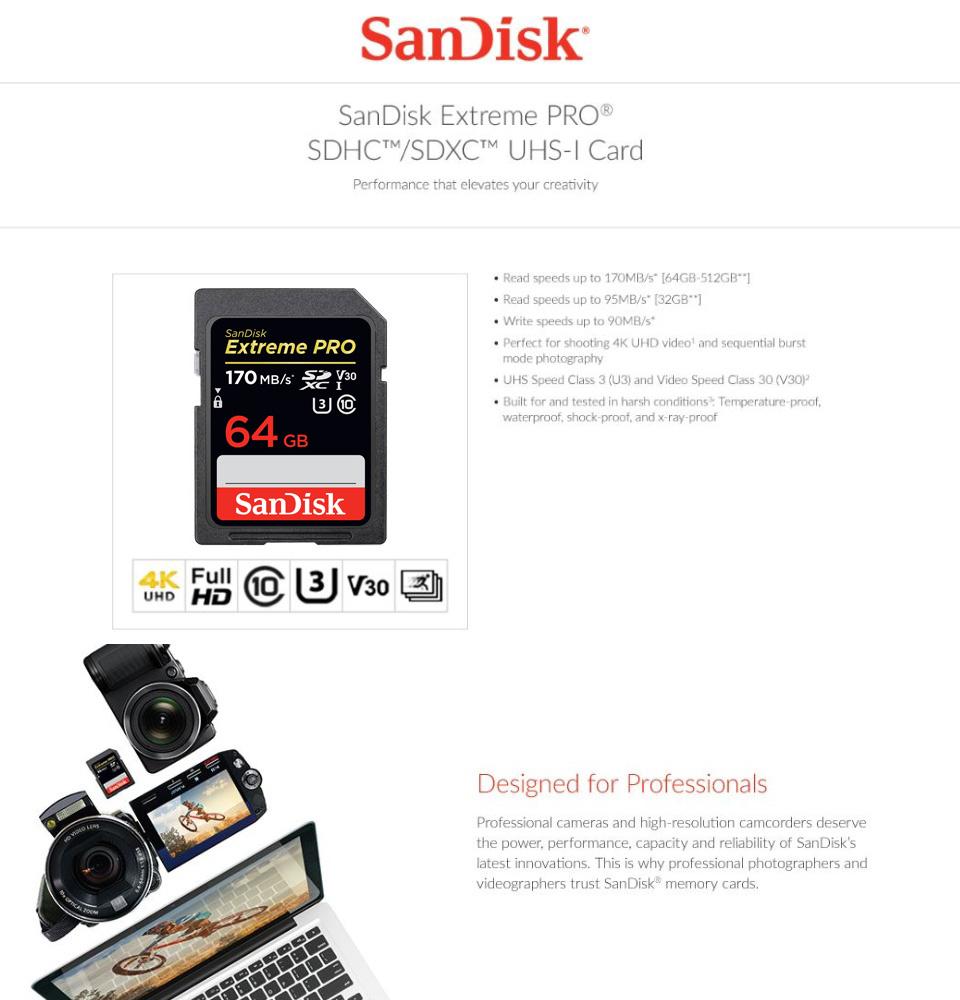 SanDisk Extreme PRO 64GB SDXC UHS-I Card 170 MB/s