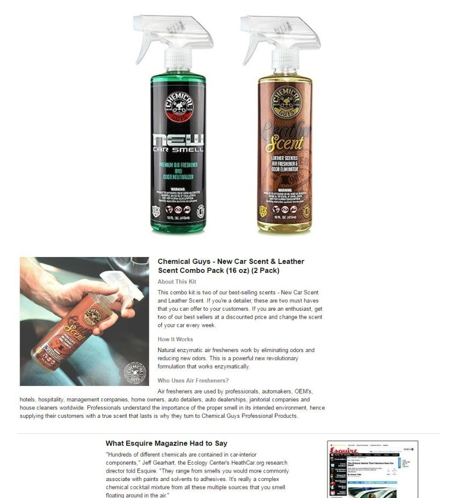 Chemical Guys AIR300 New Car Scent and Leather Scent Combo Pack - 16 oz  (2  Items)