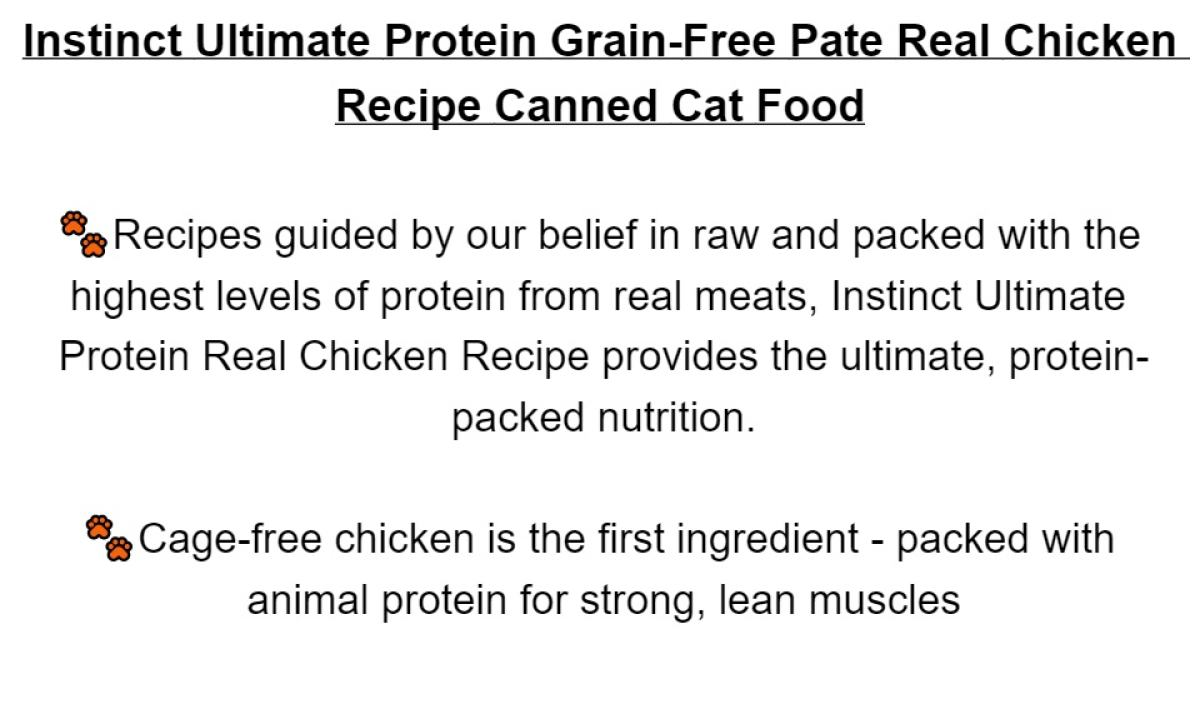 [156gx6] Cat Instinct Ultimate Protein Grain-Free Pate Real Chicken Recipe Canned Cat Food by Instinct Pet Food