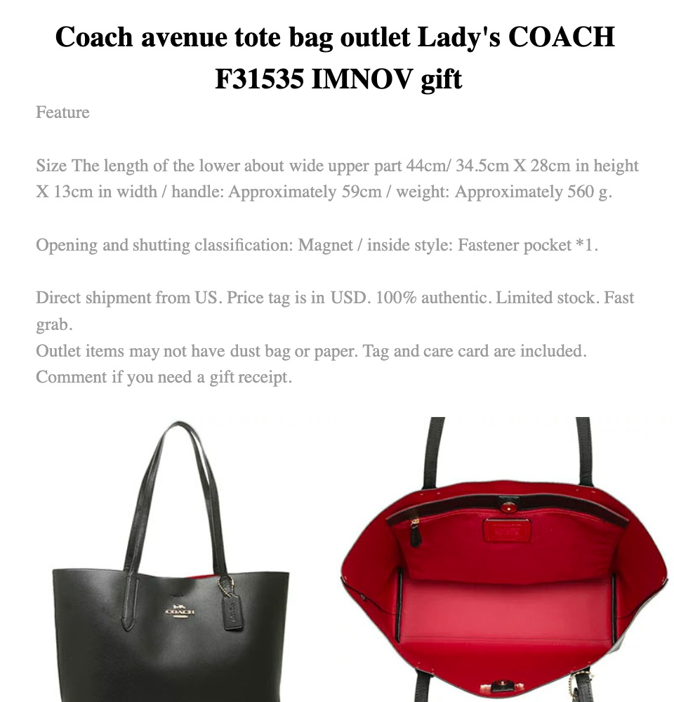 52168847dfa4 Coach big tote bag office lady shoulder bag handbag outlet COACH F58292  F31535 F58846 Gift   Lazada Singapore