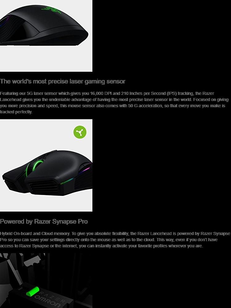 Razer Lancehead - Professional Grade Chroma Ambidextrous Wireless Gaming  Mouse