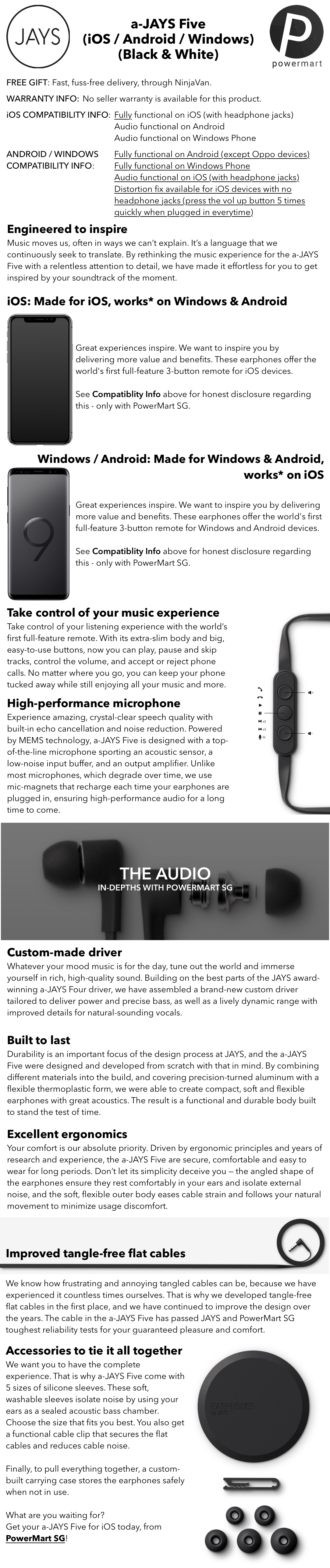 a-JAYS Five In-Ear Headphones for iOS / Windows (works with Android) -  Black & White