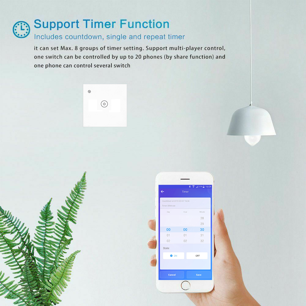 Smart Touch Switch with Single Wire Technology( No Neutral Wire Needed)  Home Automation, Smart Wall Switch, Smart Wall Switch, WIFI Switch, Remote