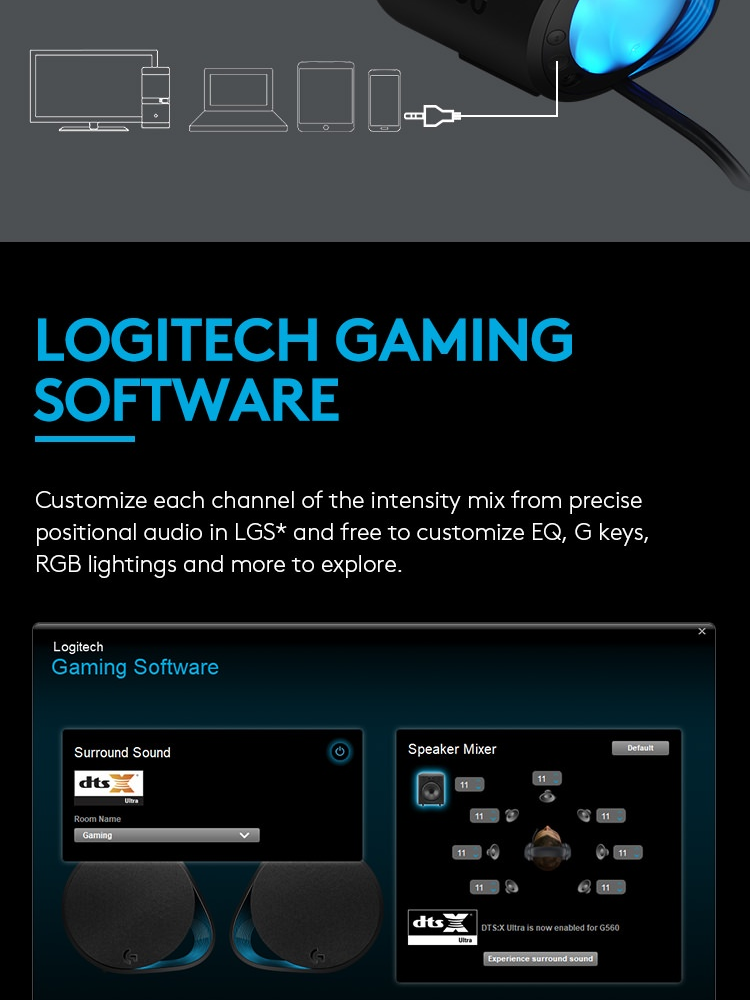 LOGITECH G560 LIGHTSYNC PC GAMING SPEAKER WITH BLUETOOTH WIRELESS *COMEX  PROMO*
