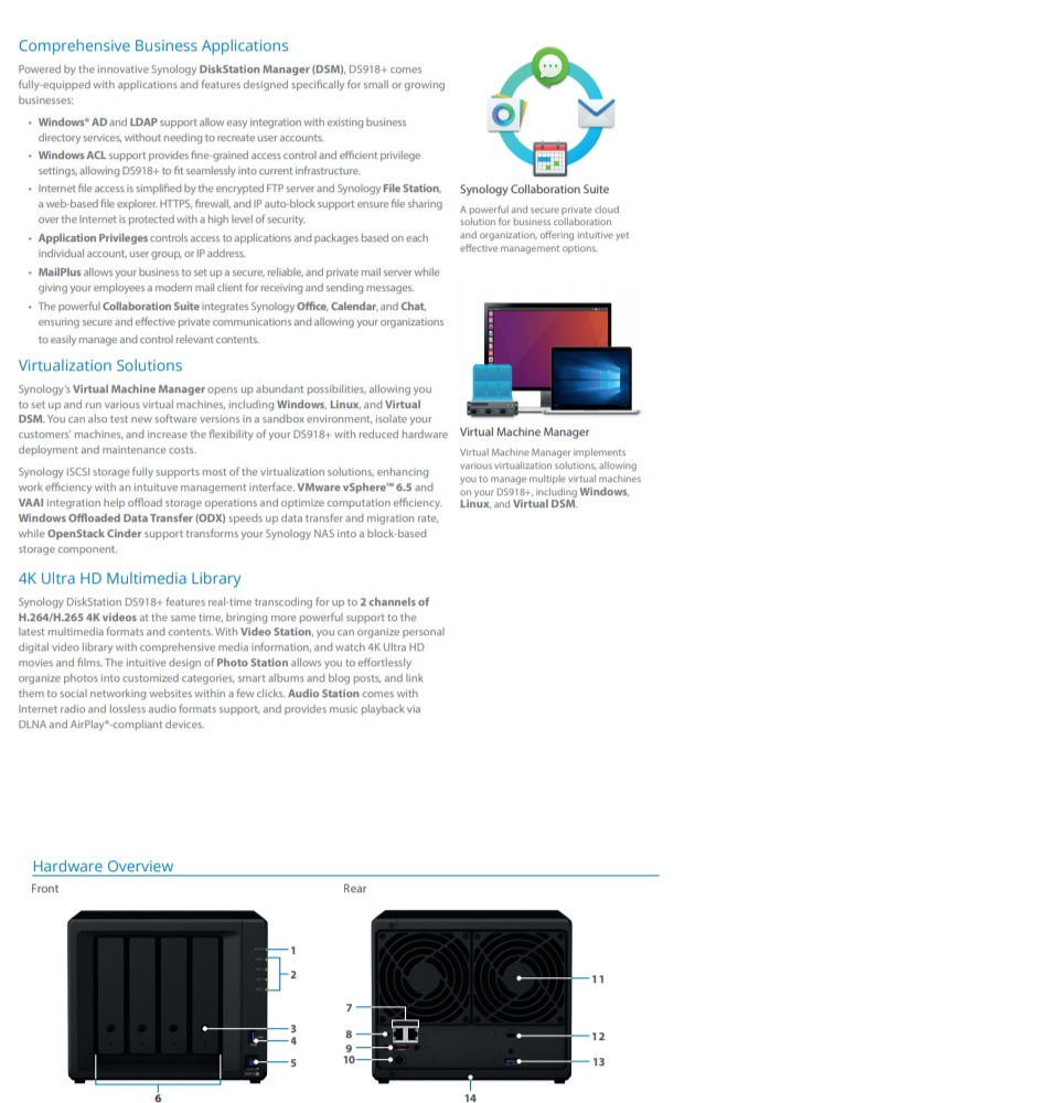 SYNOLOGY DS918+ 4 Bay NAS DiskStation   Local Warranty: 3