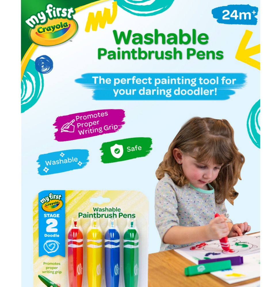 My First Crayola Washable Paint Brush Pens (4 count)