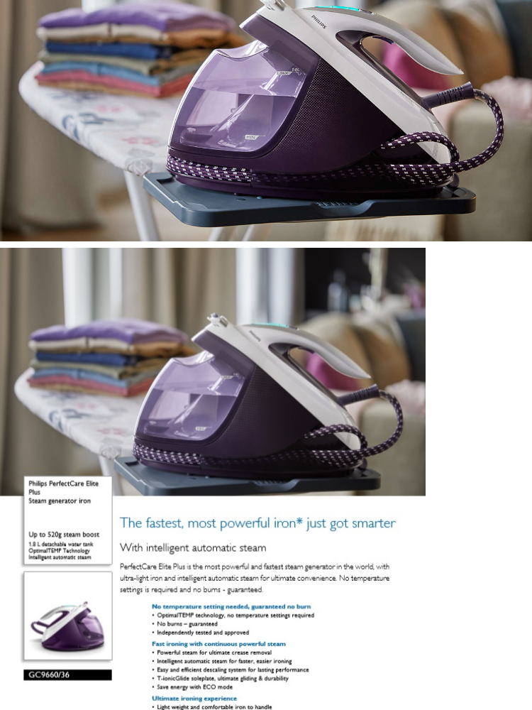 Philips GC9660 System Iron  FREE Philips System Ironing Board GC240  Steam  Boost 530 Grams  Intelligent Automatic Steam  1 8 Litres Detachable Water