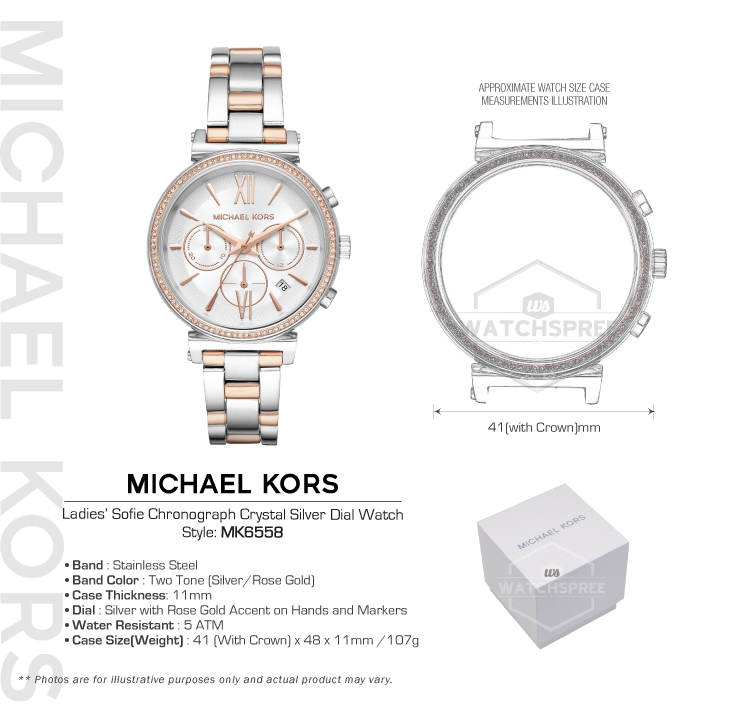 5bea70e50 Michael Kors Ladies' Sofie Chronograph Crystal Silver Dial Watch ...