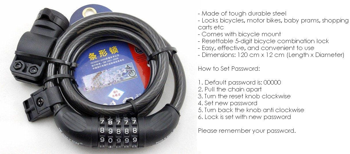 TONYON TY566 Bicycle Cycling High Quality Anti-Theft 5 Digit Passcode  Combination Cable Lock