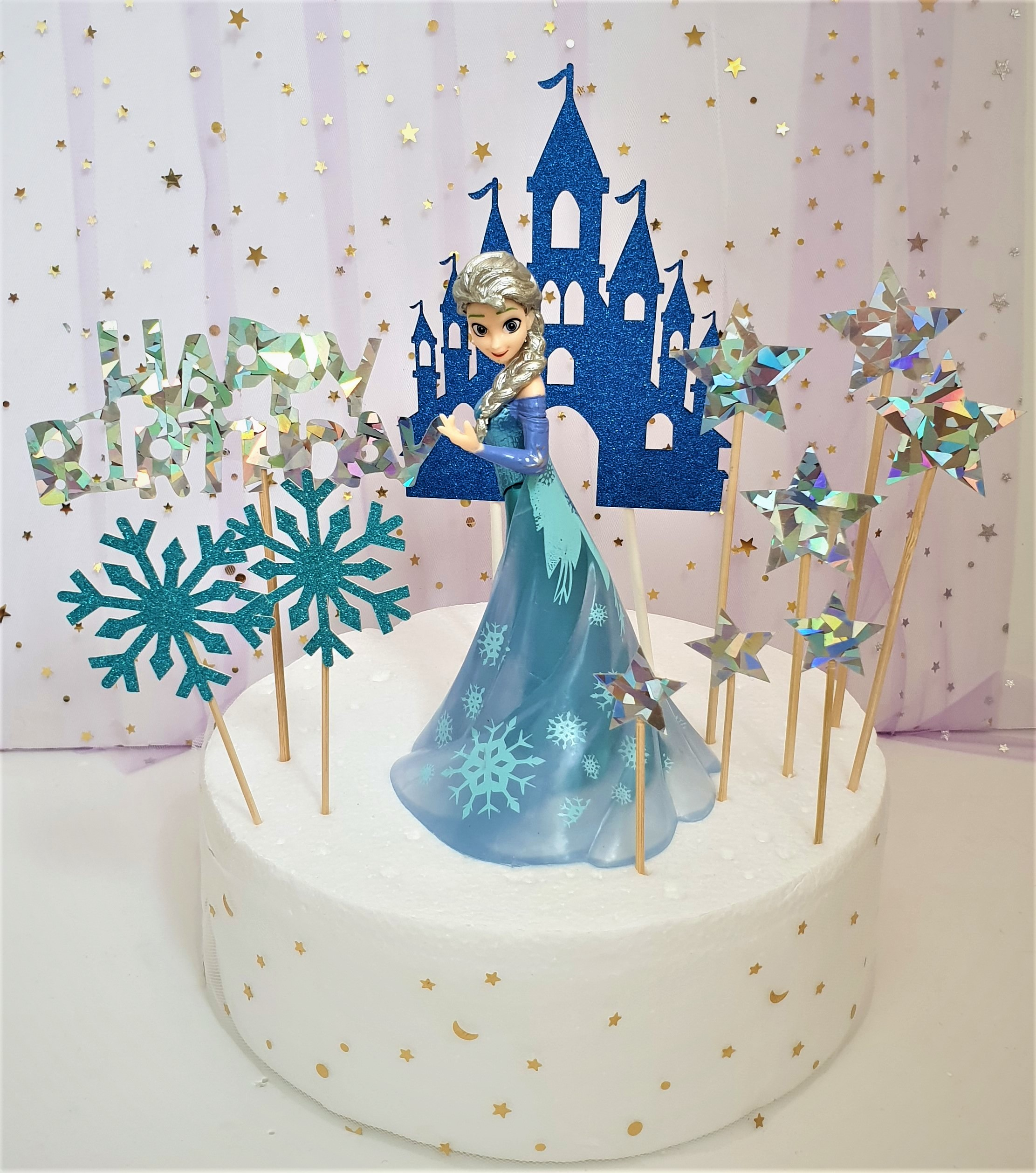Stupendous Birthday Cake Disney Frozen Princess Elsa With Stars Happy Funny Birthday Cards Online Inifofree Goldxyz