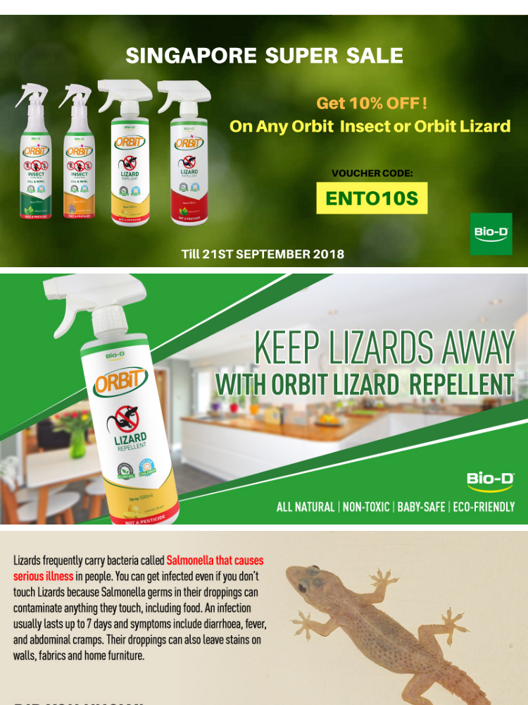 Bio-D Orbit Lizard Repellent Spray 500ml (Citrus Lemon)