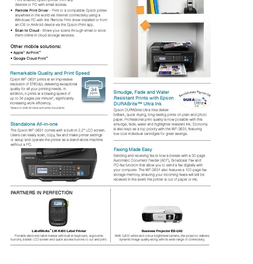 [Singapore Warranty] Epson WorkForce WF-2631 Wi-Fi All-in-One Inkjet  Printer WF2631 WF 2631