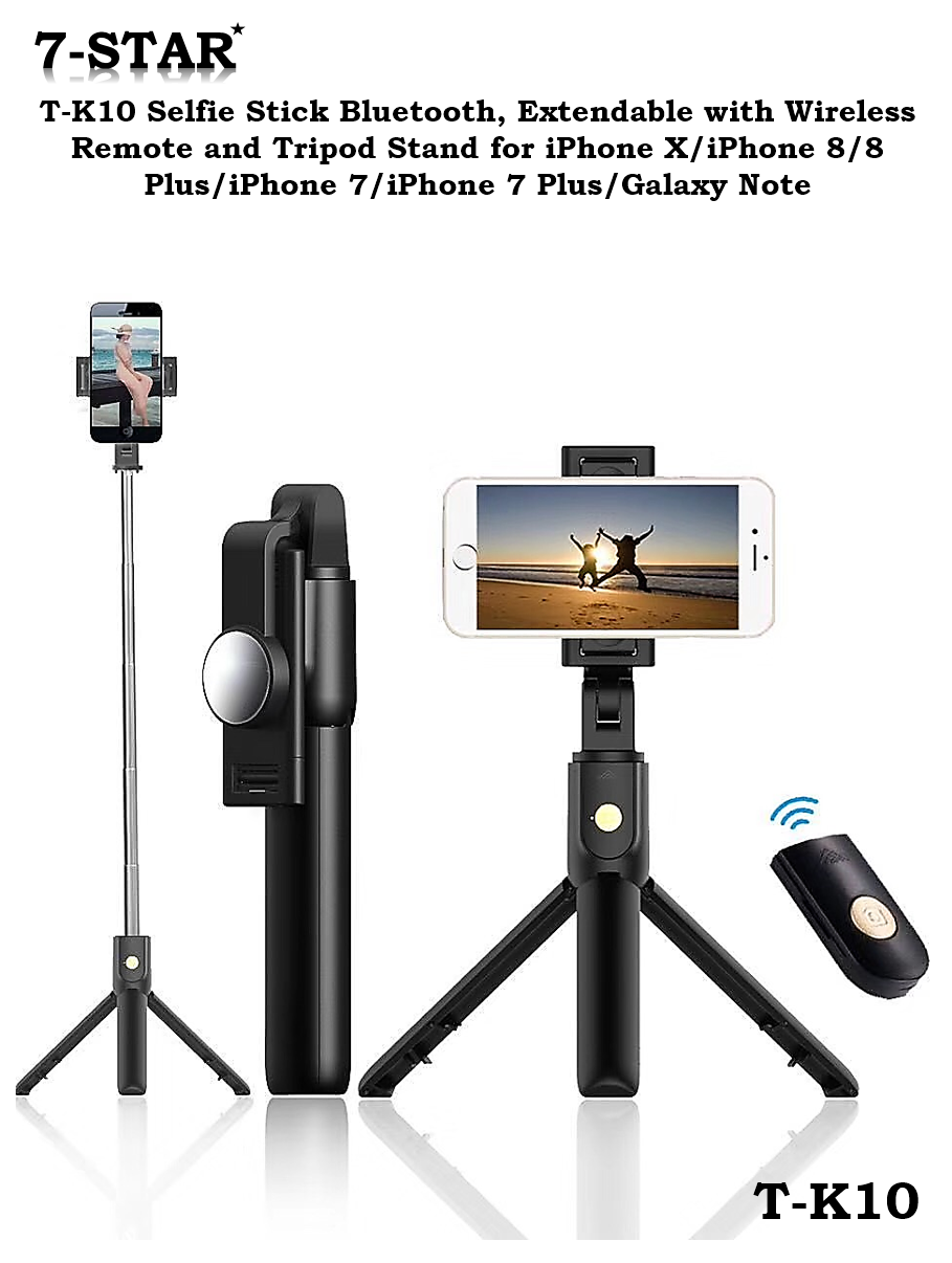 cheap for discount 93030 7ab82 T-K10 Selfie Stick Bluetooth, Extendable with Wireless Remote and Tripod  Stand for iPhone X/iPhone 8/8 Plus/iPhone 7/iPhone 7 Plus/Galaxy Note