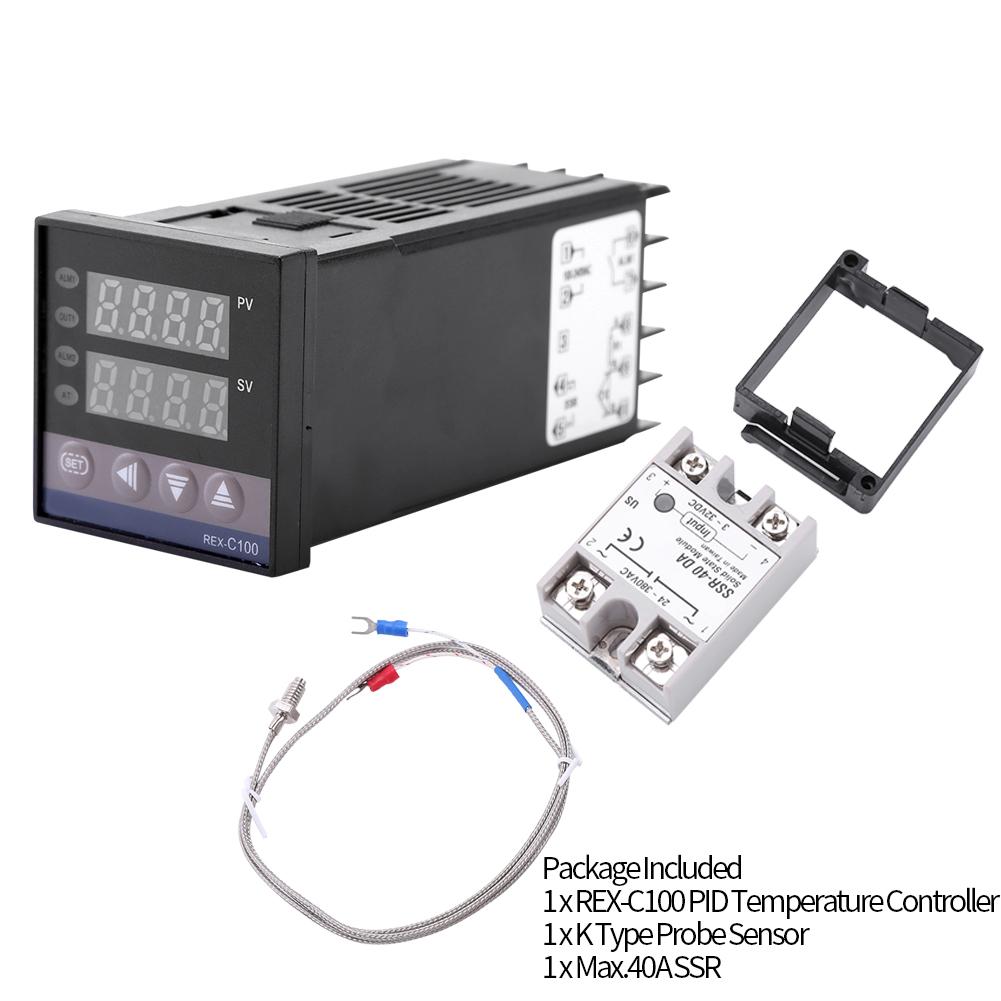 0℃~1300℃ Alarm REX-C100 Digital Intelligent Thermostat LED PID Temperature Controller Kits AC110V-240V